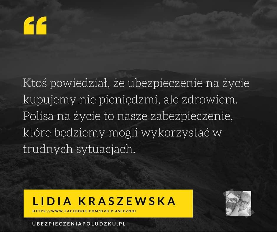 Lidia Kraszewska - Kto powinien kupic ubezpieczenie na zycie cytat
