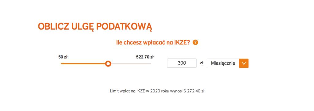 W tym kroku wybieramy jak dużo chcemy wpłacać na IKZE, w kalkulatorze NN Investment partners.