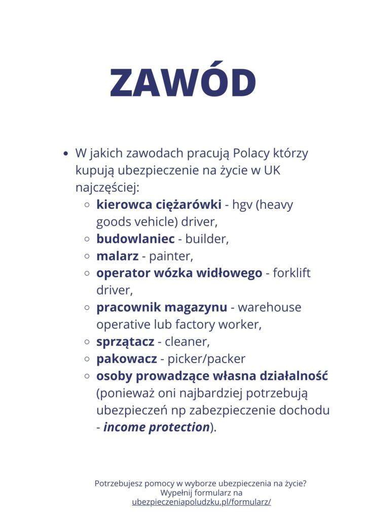 W jakich zawodach pracują Polacy kupujący ubezpieczenie na życie w UK